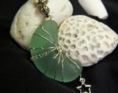 Sea Glass Necklace--The Moon and the Stars Thick Sea Foam Green Moon Shaped Sea Glass with Sterling Wire Wrap and Sterling Star Charm G 9