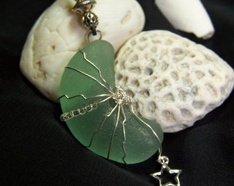 Sea Glass Necklace--The Moon and the Stars Thick Sea Foam Green Moon Shaped Sea Glass with Sterling Wire Wrap and Sterling Star Charm G 09