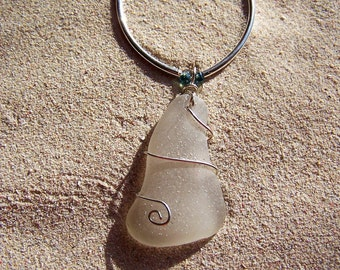 Sea Glass and Silver Necklace - Frosty White Sea Glass with Sterling Tubes and Aqua Glass Beads W 15