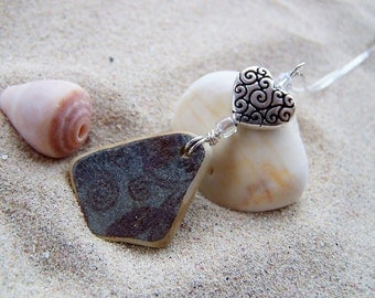 Surf Tumbled Beach Pottery Necklace in Blues with Silver Coated Pewter Heart Charm and Glass Beads on Sterling Box Chain Reversible P 04