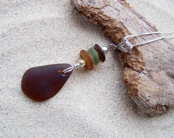 Sea Glass Necklace - Chocolate Drop with Stacked Sea Glass Beads on Sterling Silver Box Chain BR 05