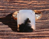 Antique 10k Gold Montana Agate Ring