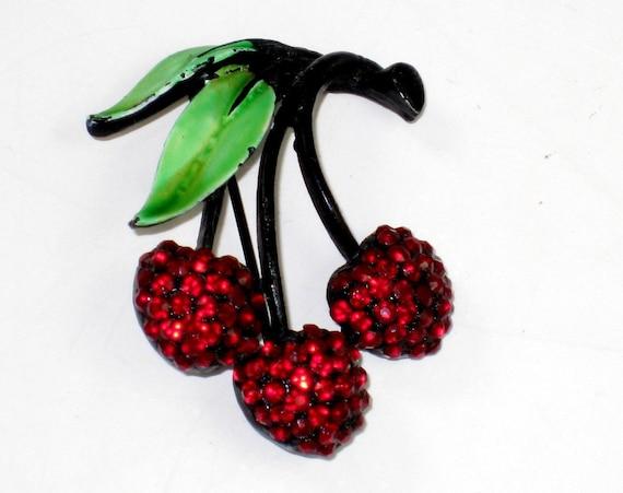 Vintage Red Rhinestone & Enamel Cherries Cherry Pin Brooch
