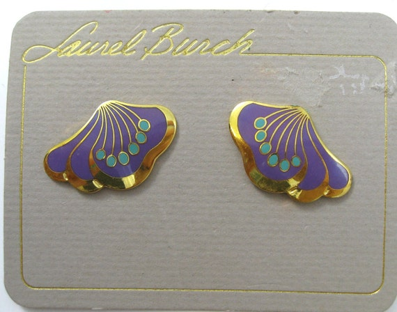 Vintage Laurel Burch Enamel Earrings Le Fleur Teal & Plum on Gold