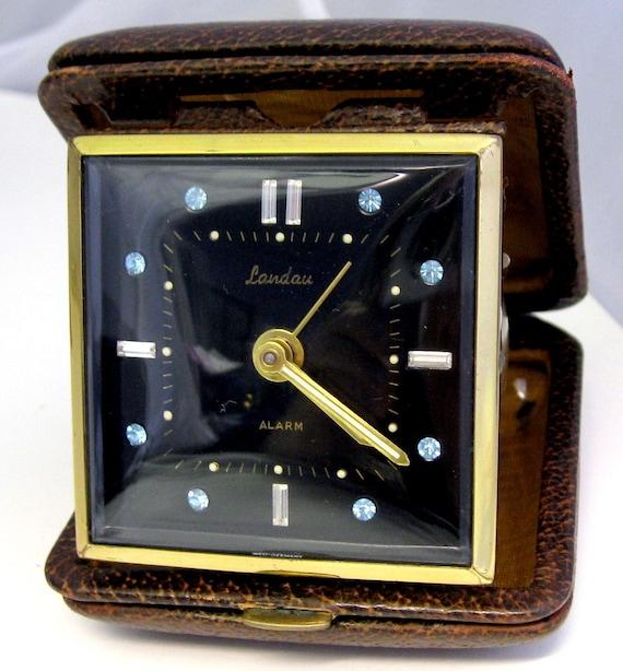 Vintage Rhinestone Travel Alarm Clock Landau Germany WORKS