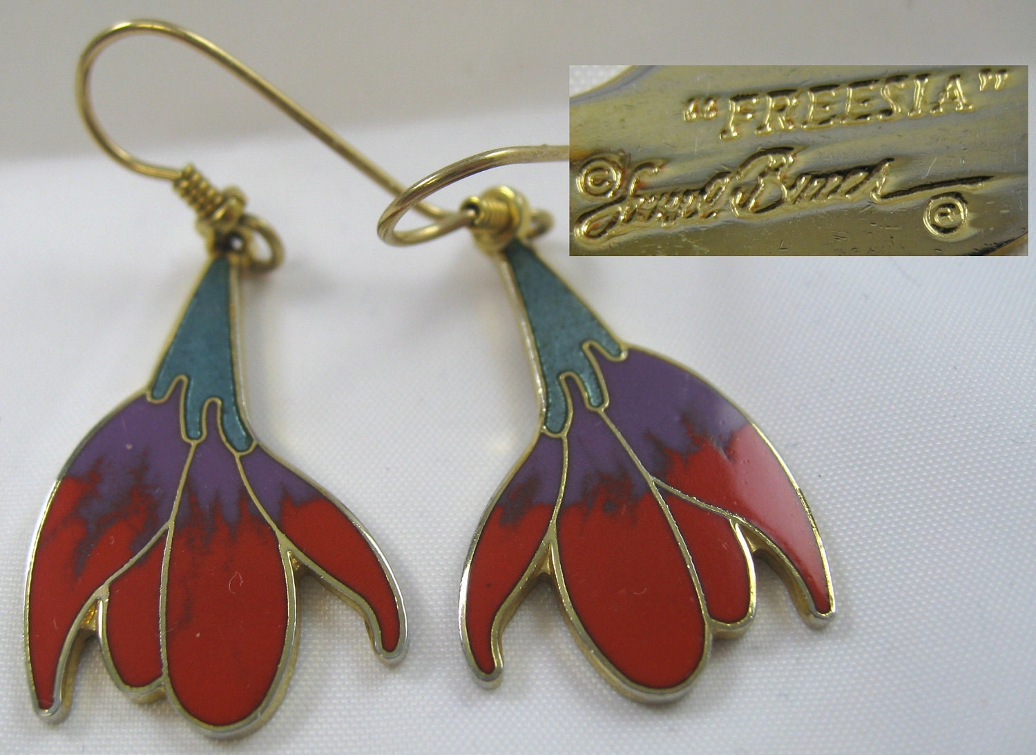 Vintage Pierced Dangle Enamel Laurel Burch Earrings