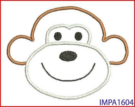 sock monkey face template - monkey face digitized applique embroidery machine design