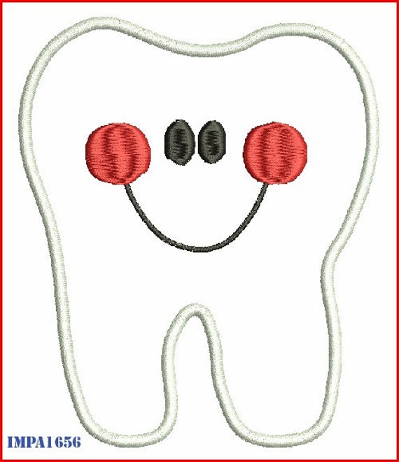 Character Applique Design : Tooth character digitized applique embroidery by