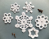 Crocheted snowflakes - Christmas decorations, ornaments /set of 6/