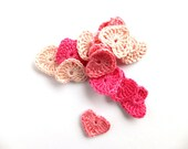 Crochet hearts applique - pink hearts applique - Valentines day decorations - pink wedding decorations - girls party applique - set of 15