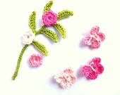 SALE Crocheted appliques, embellishments, scrapbooking, decorations green leaves, pink butterflies, flowers