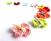 Crochet spring butterflies applique, scrapbooking, embellishment, small decorations colorful /set of 9/