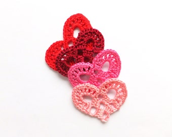 Crochet hearts applique - red hearts embellishment - Valentines day hearts - wedding hearts decorations - red lace hearts - set of 4