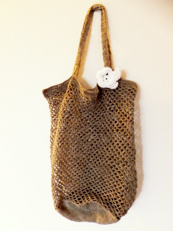 Eco friendly linen market tote bag with white flower