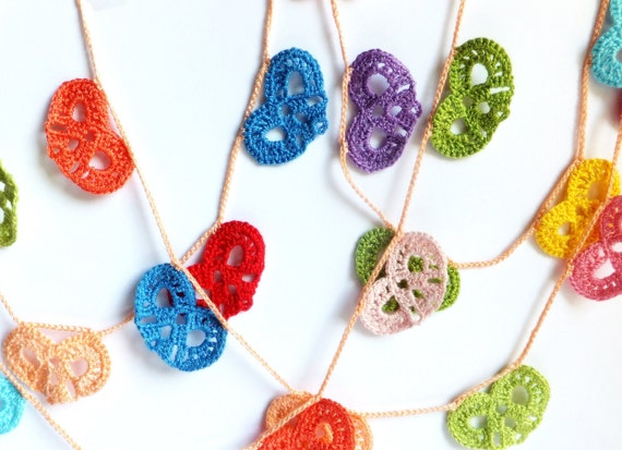 Crocheted hearts garland - colorful wedding decorations, ornaments