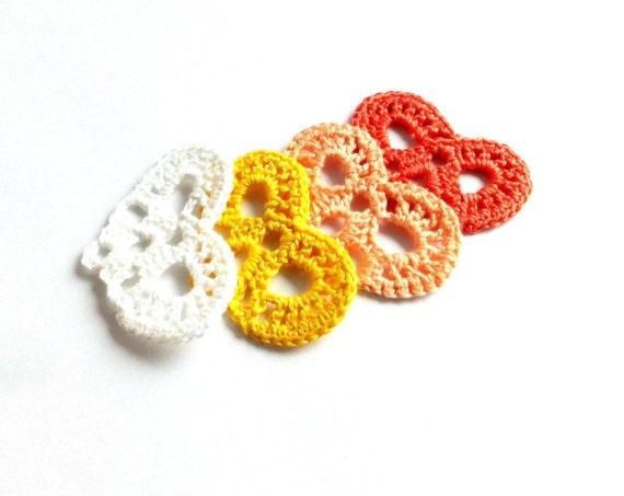 Crochet small hearts applique, embellishment, scrapbooking, wedding decorations, favors /set of 4/