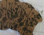 Thread cards, hand stamped, wildflowers, kraft, black archival ink