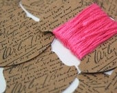 Embroidery thread storage cards, small cursive script, postcard, hand stamped, kraft card, black archival ink