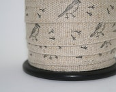 Linen/cotton fabric tape, bird, hand stamped, black archival ink, washable, 1 metre