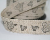 Linen/cotton fabric tape, teapot, teacup, hand stamped, black archival ink, washable, 1 metre