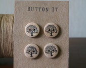 "Buttons, wooden, oak tree, 3/4"", hand stamped, black archival ink"