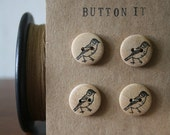 """Buttons, wooden, little bird, 3/4"""", hand stamped, black archival ink"""