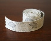 Linen/cotton fabric tape, ginkgo leaf, hand stamped, black archival ink, washable, 1 metre