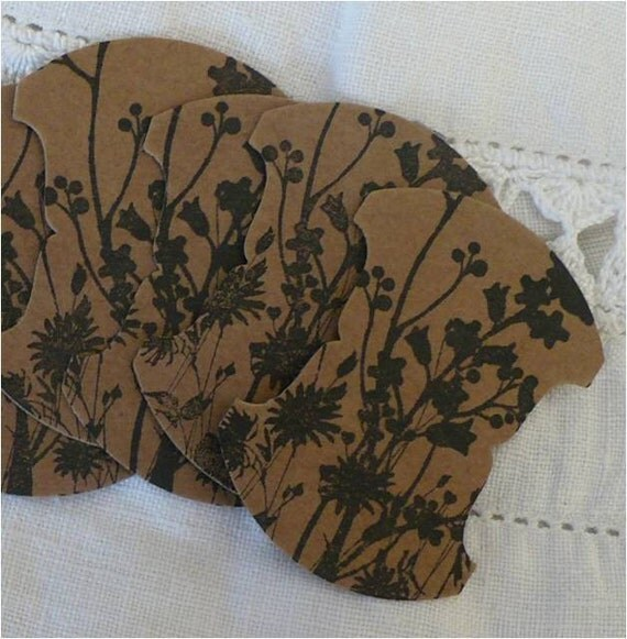 Thread cards, hand stamped, wildflowers, kraft, black archival ink