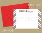 DIY printable stationery - the ARCHIVE STRIPE correspondence note cards  - merci beaucoup