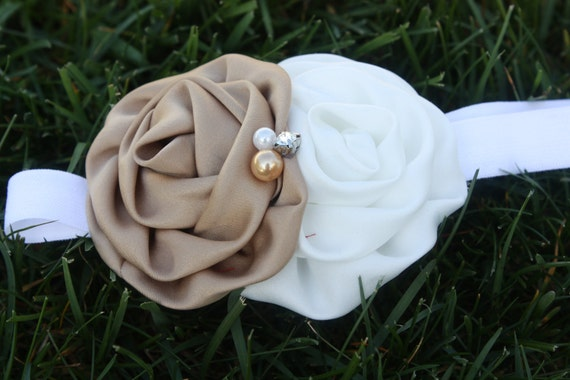 Coffee Cake Satin Rose Headband