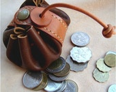 Leathinity - Hand Stitched Brown Leather Pouch for Coins / Small Stuffs