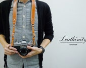 Leathinity - Brown Leather Neck Camera Strap (Adjustable Length)