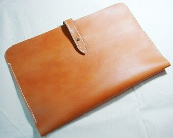 Leathinity - Hand Stitched Tan Color Leather Sleeve for iPad Air / iPad Air 2