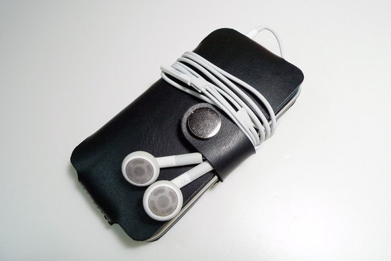 Leathinity - Hand Stitched 1.5mm Black Leather iPhone 3Gs / 4 / 4s