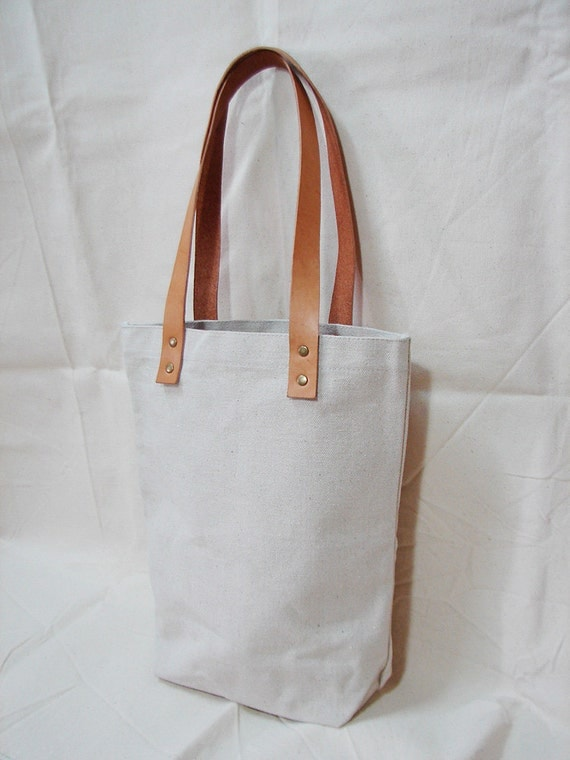 Leathinity - Original/Beige Tote Bag w/ Genuine Leather Handles - Eco Friendly