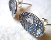 Silver Vintage Lace earrings by Cari-Jane Hakes, hybrid handmade, from the 'A Stitch in Time Saves Nine' series