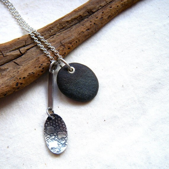 Eye spy circular pebble necklace with vintage lace textured silver ellipse by Cari-Jane Hakes, hybrid handmade