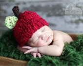 Little Knit Apple Hat for Baby, Adorable Photography Prop