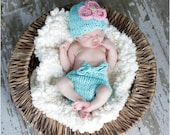 Little Knit Flower Hat and Diaper Cover Set for Baby Choose Your Colors