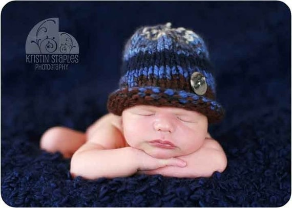 Little Knit Hat for Baby in Denim Blues and Brown