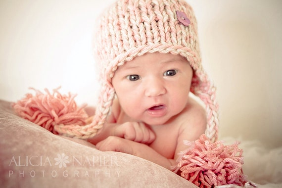 Little Knit Ear Flap Hat with Tassle for Baby with Shell Button in Pink or Blue