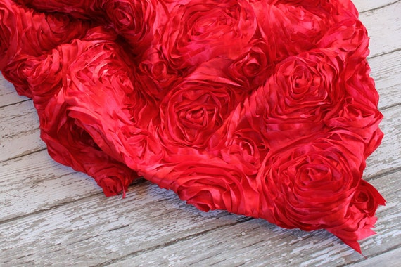 Beautiful Raised Rose Fabric in Red Color, Photography Prop for Baby