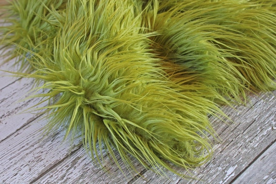Beautiful Mongolian Fur in Olive Green, Photography Prop for Baby