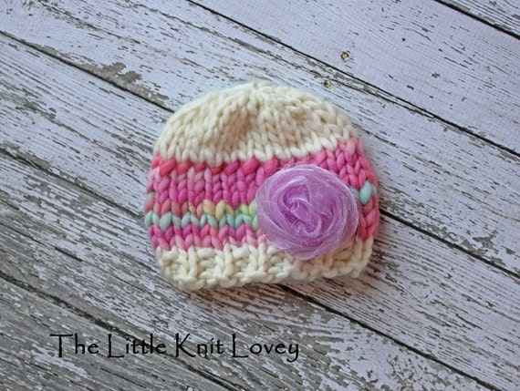 OOAK Hand Spun Merino Wool Knit Hat for Baby, Ready to Ship