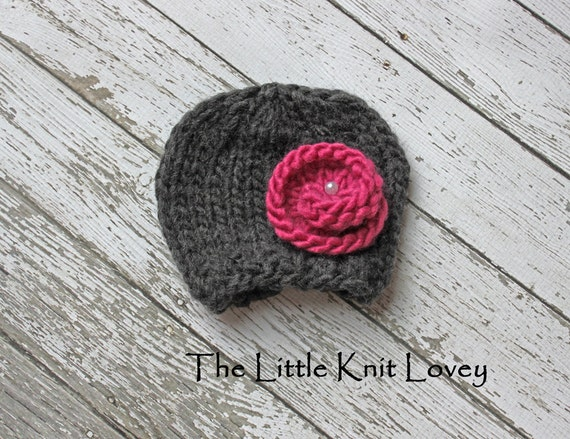 Little Knit Hat with Flower for Baby, Choose Your Colors