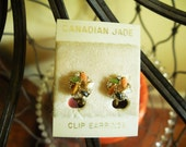 Canadian Jade Screw Back Earrings Vintage Estate Sale Find