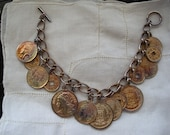 REDUCED Vintage Gold Coin Bracelet Toggle clasp