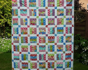 PDF Quilt Pattern, Jelly Roll Pattern, Easy Quilt Pattern, Beginner Pattern, Baby Quilt Pattern, 6 sizes baby to king, Picnic in the Park