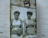 Spirited Ladies at the Beach - Gift Tag - Vintage Beach - Shabby Chic - Vintage Beach Photo - Vintage Women - Swim