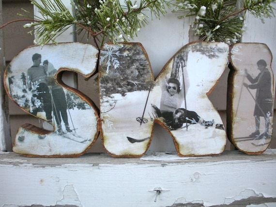 Handcrafted wood ski decor vintage ski guys and gals for Snowboard decor